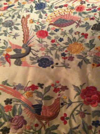 ANTIQUE EUROPEAN SILK HEAVILY EMBROIDERED PIANO SHAWL COLORFUL 5