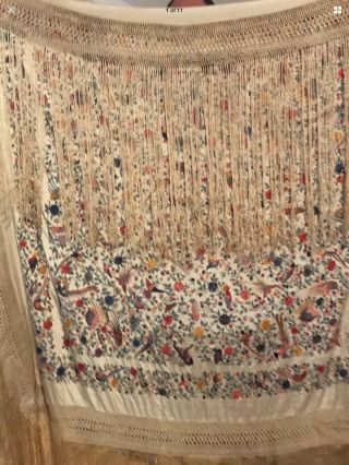 ANTIQUE EUROPEAN SILK HEAVILY EMBROIDERED PIANO SHAWL COLORFUL 8