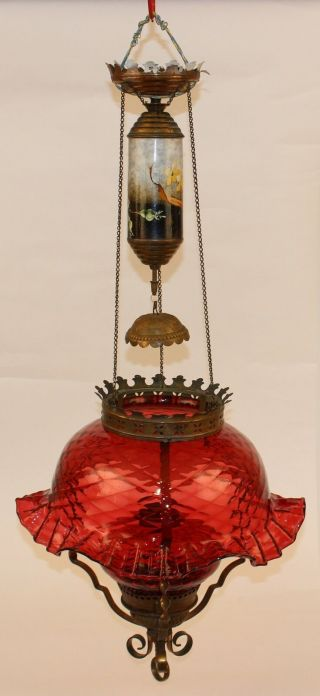 Rare Victorian Parker Hanging Ruby Parlor Oil Lamp W/ Petticoat Shade
