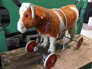 Rare Antique Steiff Cow On Wheels With Bell And Rope Tag