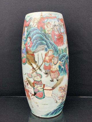 Very Fine Antique Chinese 19th Century Vase With Fine Painted Details Large Size