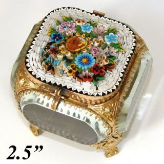 Antique Micro Mosaic,  Micromosaic Jewelry Box,  Casket,  Thick Beveled Glass C1890