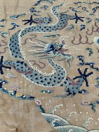 Extremely Large Antique Chinese Silk Panel With Double Dragons Qing Embroidery 12