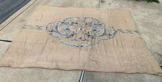 Extremely Large Antique Chinese Silk Panel With Double Dragons Qing Embroidery 2