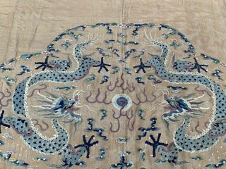 Extremely Large Antique Chinese Silk Panel With Double Dragons Qing Embroidery 3