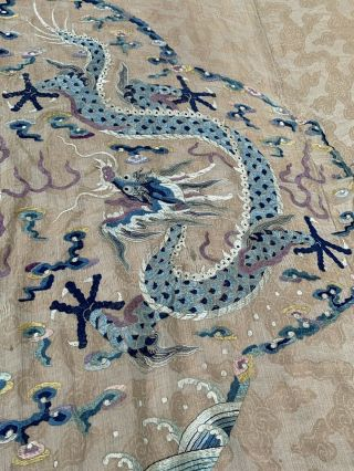 Extremely Large Antique Chinese Silk Panel With Double Dragons Qing Embroidery 7
