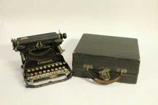 1920 Antique Corona Model 3 Home Office Portable Folding Typewriter With Case