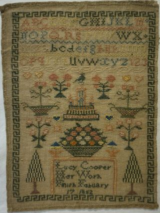 Mid 19th Century Motif & Alphabet Sampler By Lucy Cooper - Feb 17th 1852