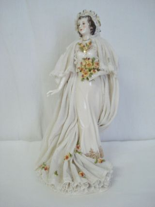 """10 """" Bride Figurine Dresden Lace Dress Antique Porcelain Yellow Roses Germany"""
