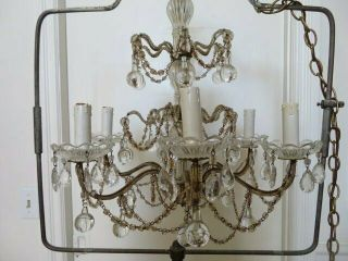 Exquisite Old Vintage Chandelier Macaroni Beaded On The Arms Swags Crystals