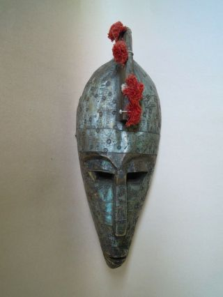 Antique African Tribal Marka Mask,  Wood,  Pompoms & Detailed Metal Work,  Mali