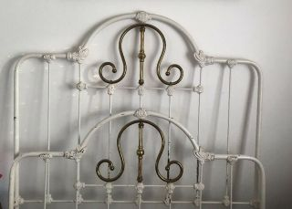 Antique Full Size Wrought Iron & Brass Bed All Iron Rails Wood Slats