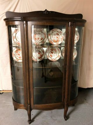 Antique Mahogany China Cabinet,  Curved Glass, .