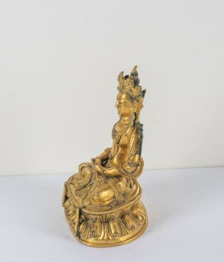 Chinese Antique Ching Dynasty Gilt Bronze Figure Of Buddha,  Kuangxu Period 2