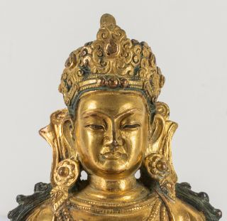 Chinese Antique Ching Dynasty Gilt Bronze Figure Of Buddha,  Kuangxu Period 6
