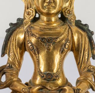 Chinese Antique Ching Dynasty Gilt Bronze Figure Of Buddha,  Kuangxu Period 7