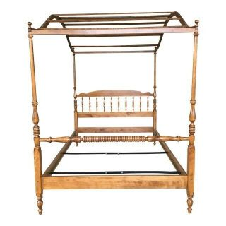 Ethan Allen Full - Size Tall Poster Canopy Bed,  Vintage,