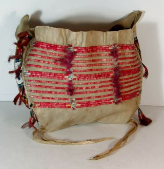C1890s Native American Sioux Indian Bead & Quill Decorated Hide Tipee Bag Teepee