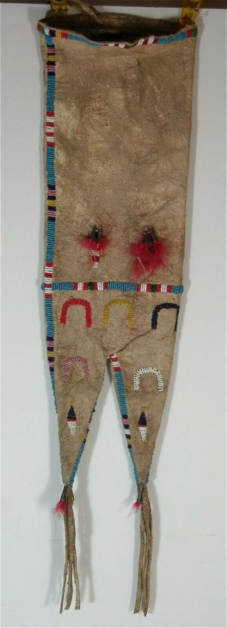 C1900 Native American Sioux Indian Bead Decorated Hide Tobacco / Pipe Bag Beaded