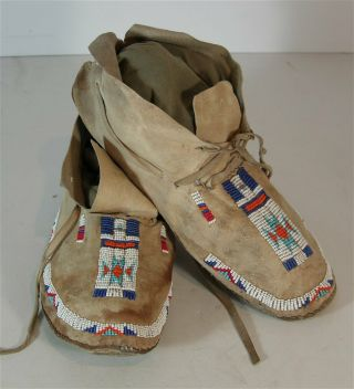 Ca1900 Pair Native American Arapaho Indian Bead Decorated Hide Moccasins Beaded