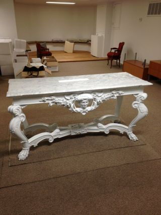 Italian Style Console Table W/ White Italian Marble Top And Wooden Base