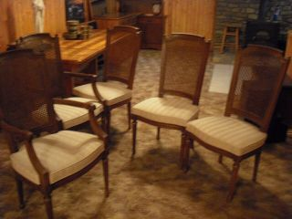 Vintage 5 Henredon French Regency Cain Back Dining Room Chairs 2 W/ Side Arms