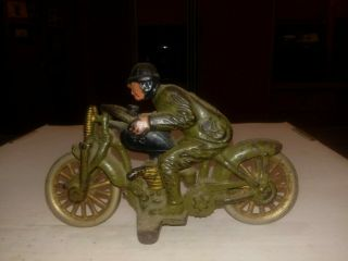 Olive Rare Vintage Hubley Cast Iron Hill Climber Motorcycle Harley Davidson 1930