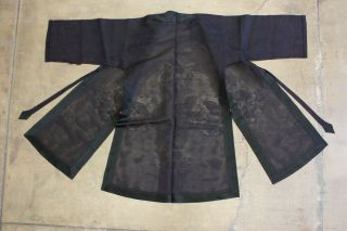 Antique Chinese Robe Qing Dynasty Black Medallion Dragon Asian 1900s