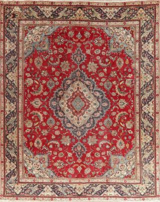 Traditional Oriental Old Area Rugs Hand - Knotted Floral Vintage Carpet 10 X 13