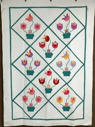 "Mountain Mist Dated 1933 "" Tulip Bowl "" Quilt Vintage Applique Rare Color Combo"