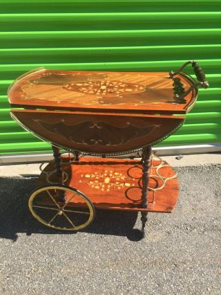 Vintage Italian Marquetry Drop Leaf Wine/tea/beverage Cart Trolley