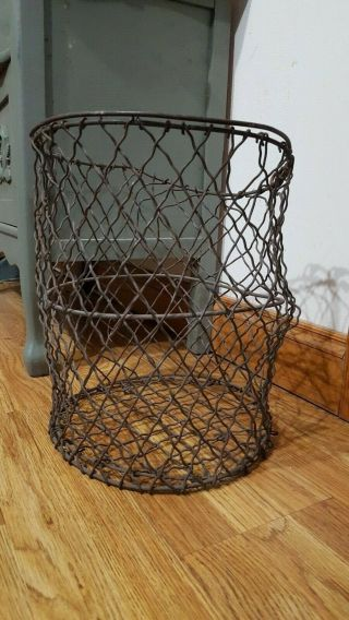 Anique Industrial Iron Wire Basket W/handle,  Very Strong And Rare To Find