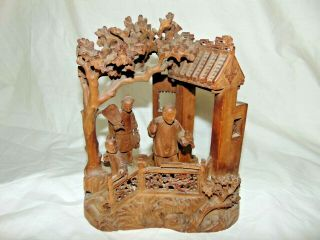 Great Antique Chinese Japanese Carved Wood 3 Figure Group Building With Trees
