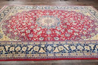 Perfect Vintage Traditional Floral Oriental Area Rug Hand - Knotted Red Wool 9x13