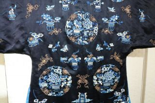 CHINESE EMBROIDERED SILK ROBE 19THC 10