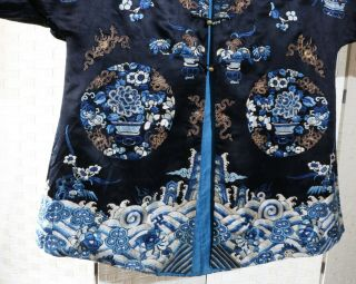 CHINESE EMBROIDERED SILK ROBE 19THC 4