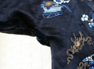 CHINESE EMBROIDERED SILK ROBE 19THC 5