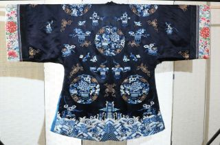 CHINESE EMBROIDERED SILK ROBE 19THC 6