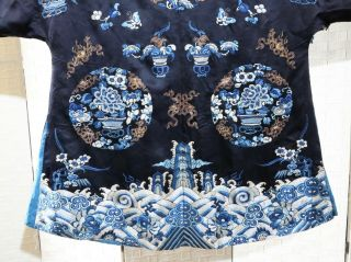 CHINESE EMBROIDERED SILK ROBE 19THC 9