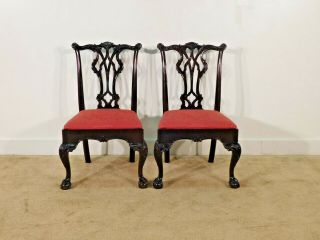Pair Kindel Winterthur Mahogany Carved Chippendale Ball & Claw Side Chairs