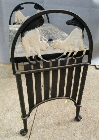 Antique Art Deco Cast Iron Bench Two Cats Fighting On A Fence
