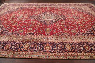 Vintage Traditional Floral Oriental Area Rug Hand - Knotted Wool Large Carpet 9x14