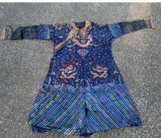 Old Chinese Qing Dynasty Silk Court Robe With Gold Metallic Dragons