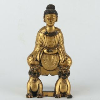 Antique Chinese Gilt Copper Buddha And Animals