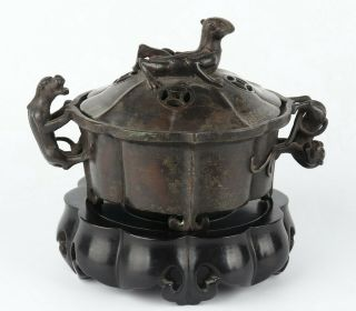 Antique Chinese Copper Incense Burner With Redwood Base