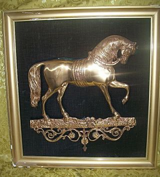 Antique 19th Century Gilded Bronze Bas Relief Wall Plaque Of Distinguished Horse