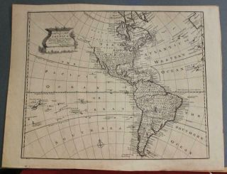 American Continent (western Hemisphere) 1747 Bowen Antique Copper Engraved Map
