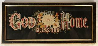 "Antique Victorian Paper Punch Sampler ""god Bless Our Home"" Frame"