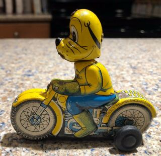Rare Vintage Linemar Disney Pluto On Motorcycle Tin Toy Friction 3 ""
