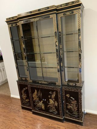 Et Cetera Drexel Chinoiserie Black Lacquer China Cabinet